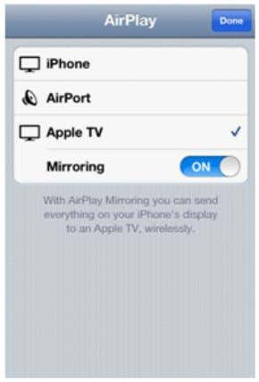 4. Choose Apple TV from the list, and enable Mirroring . 5. The status bar at