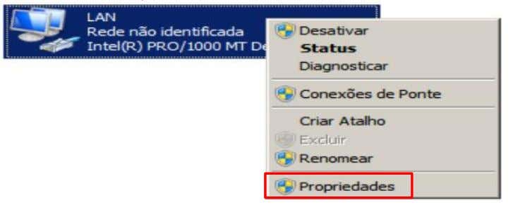 | Monitoramento com ZABBIX Vamos configurar a placa de rede dentro do windows 2008 Clique com