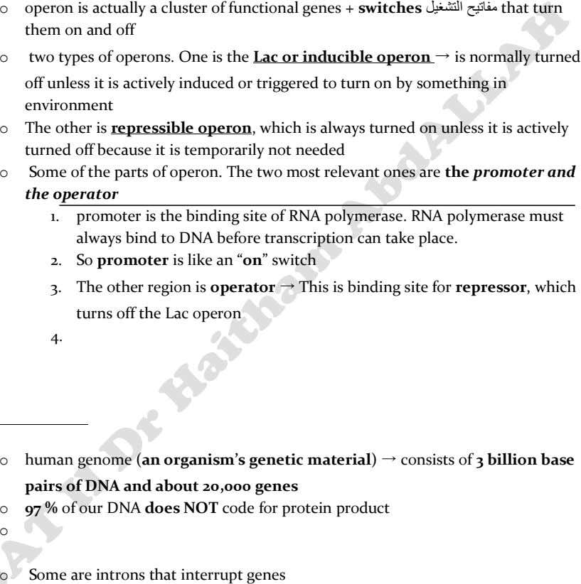 o operon is actually a cluster of functional genes + switches ليغشتلا حيتافم that turn