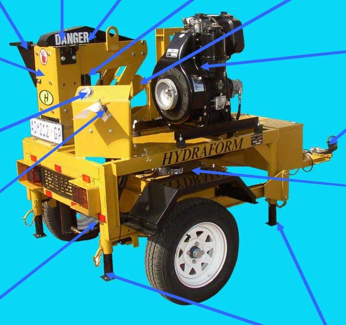 levers Bottom cylinder Top arm Top cylinder Block cutter Diesel engine Tow hitch Hydraulic oil tank
