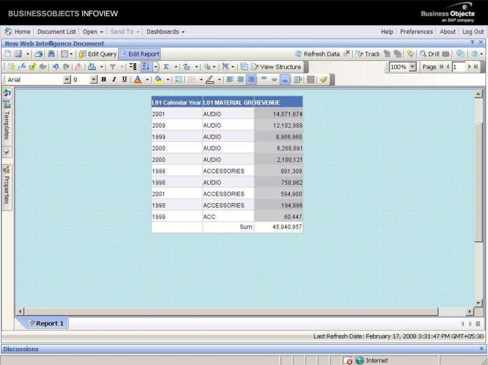 BUSINESS OBJECTS XI 3.1 Beginner Guide After click on the Descending, all the records arrange in