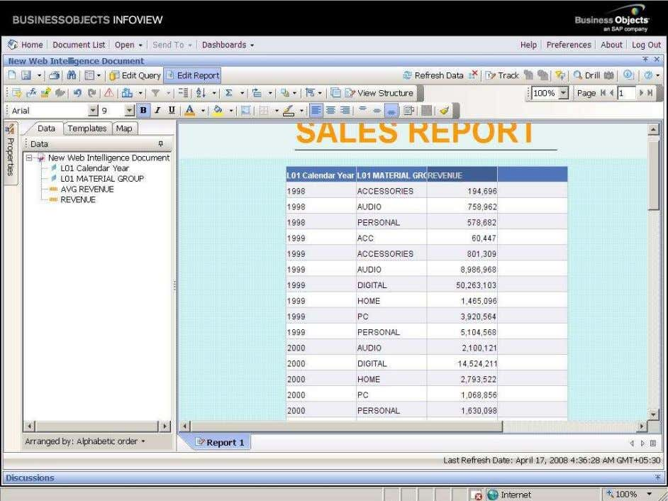 BUSINESS OBJECTS XI 3.1 Beginner Guide Directly drag and drop the required object to blank column.