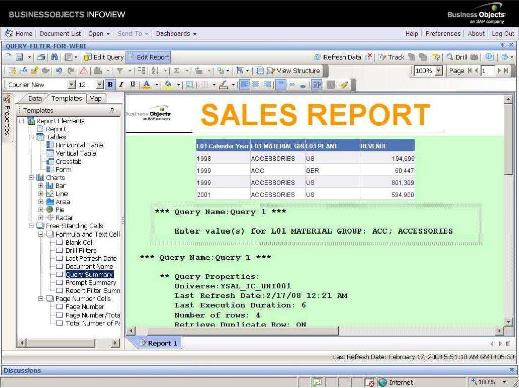 BUSINESS OBJECTS XI 3.1 Beginner Guide The output of the query will be displays the only