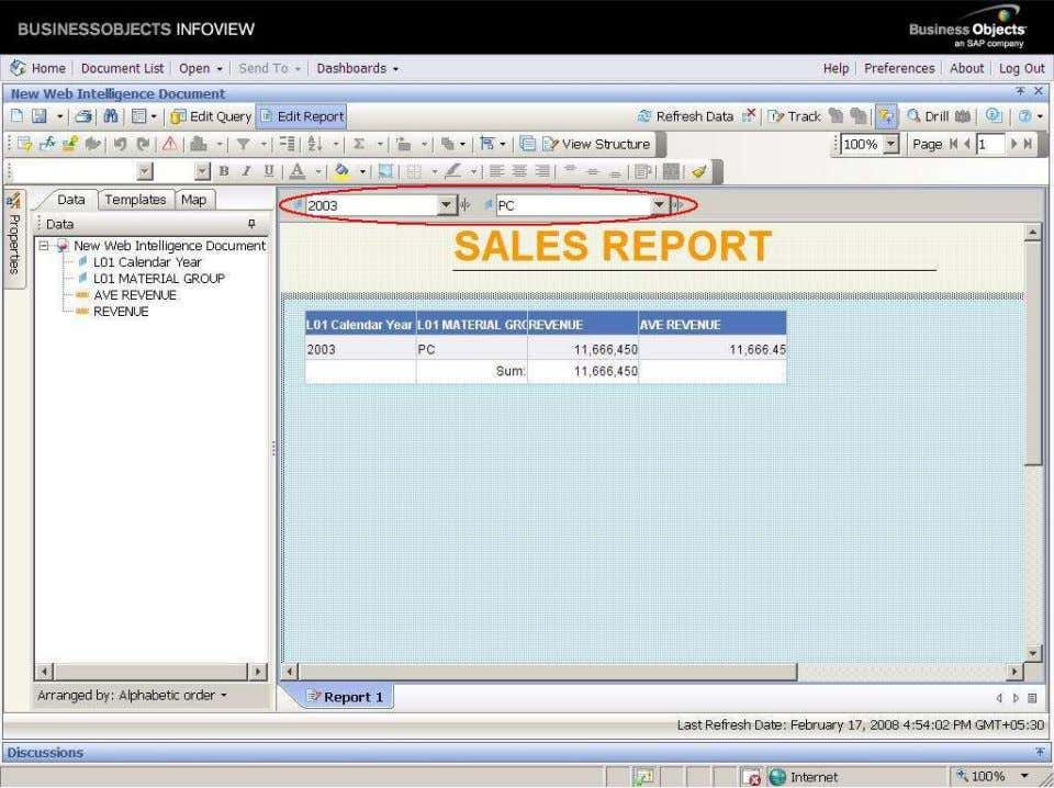 BUSINESS OBJECTS XI 3.1 Beginner Guide We observe the above report, we select only calendar year=2003