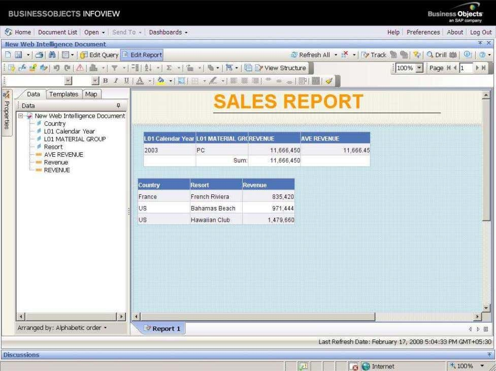 BUSINESS OBJECTS XI 3.1 Beginner Guide In our example, we select the Insert a table in