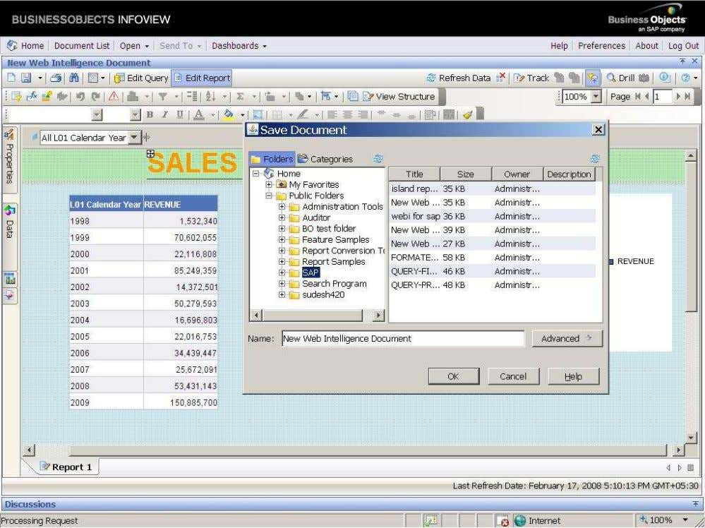 BUSINESS OBJECTS XI 3.1 Beginner Guide Click on ok. It will save and export to the