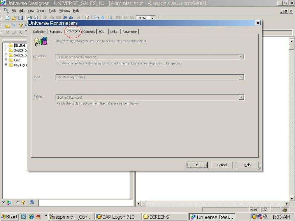 BUSINESS OBJECTS XI 3.1 Beginner Guide The strategies tab enabled, when we creating universe on the