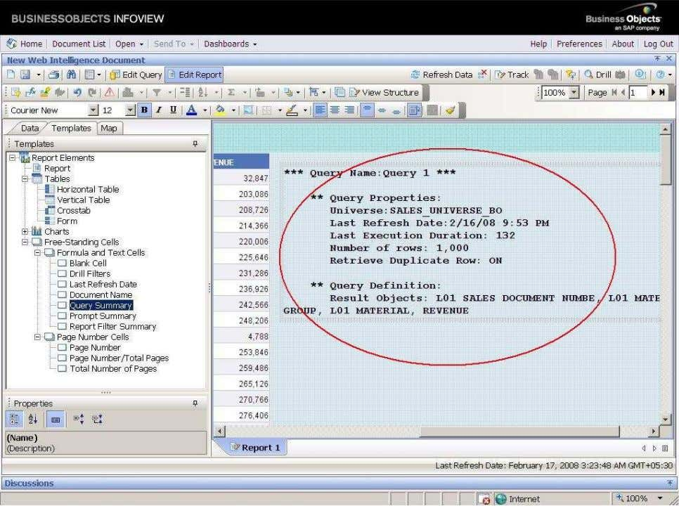 BUSINESS OBJECTS XI 3.1 Beginner Guide It will displays the name of the query, parent Universe