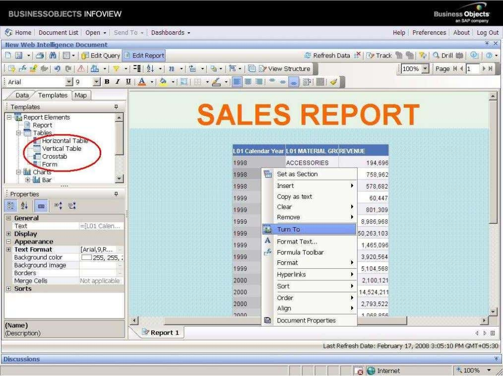 BUSINESS OBJECTS XI 3.1 Beginner Guide HORIZONTAL TABLE Here we have two options is there ,to