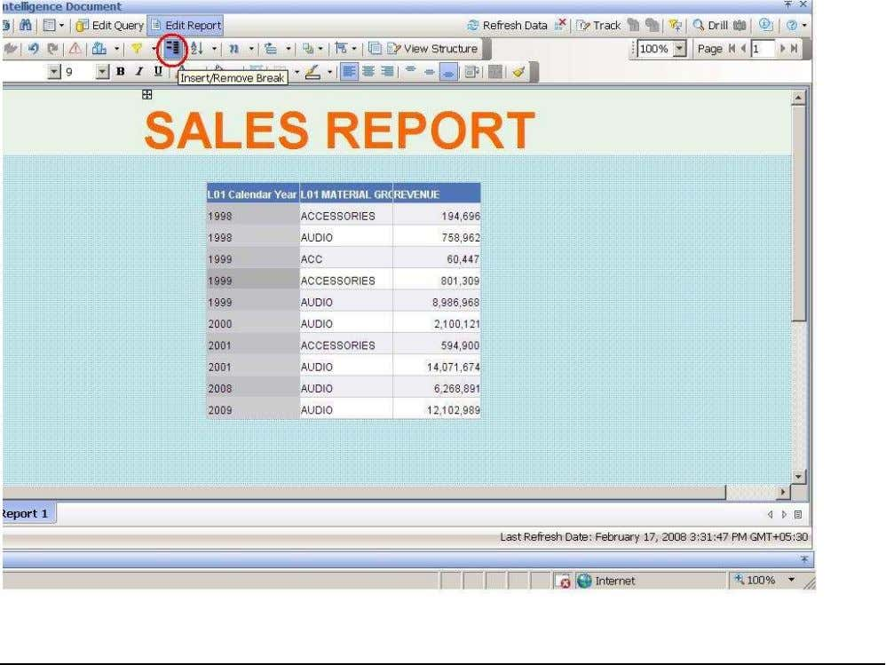 OBJECTS XI 3.1 Beginner Guide INSERT BREAK TO THE REPORT Select the report structure. Go to