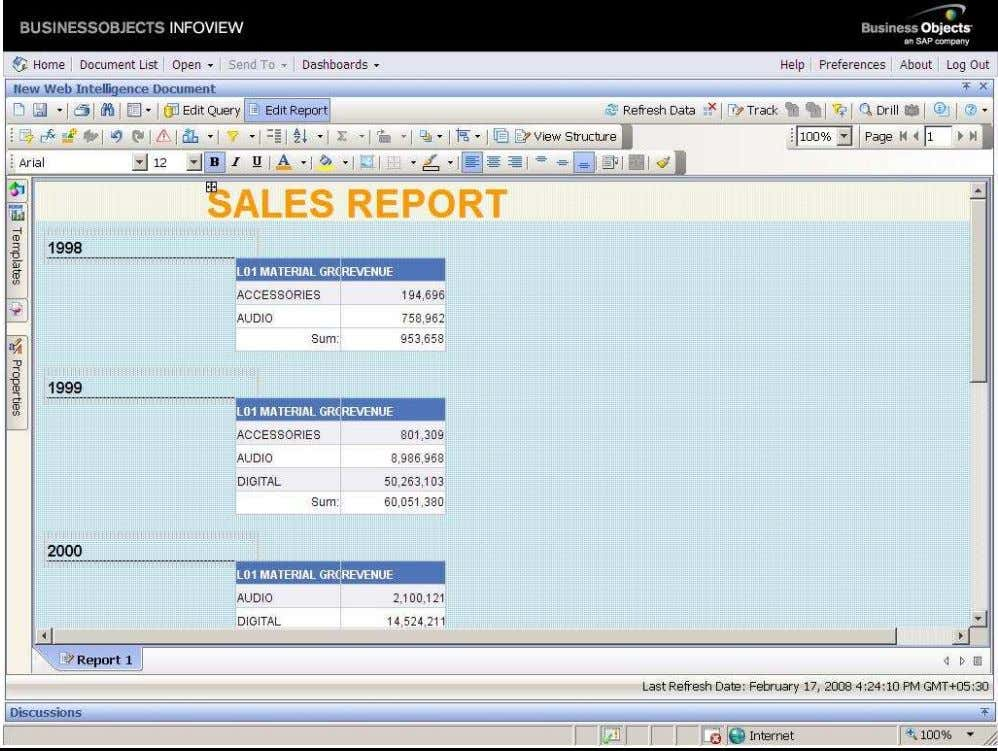 BUSINESS OBJECTS XI 3.1 Beginner Guide After drop the calendar year cell to the above of