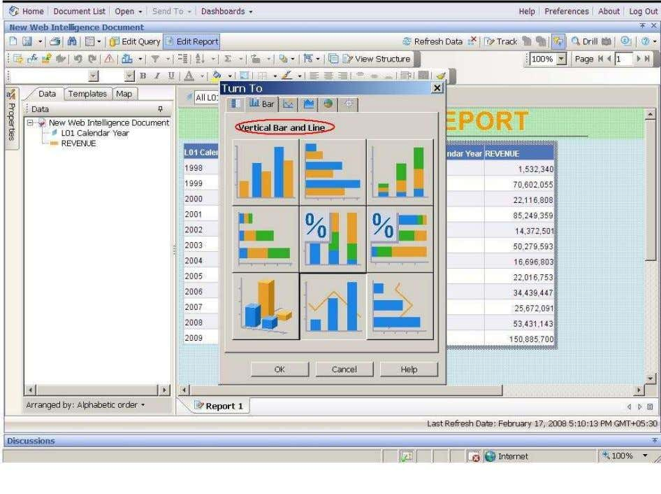 BUSINESS OBJECTS XI 3.1 Beginner Guide Select the required Graph/Chart (vertical Bar/Line). Click on ok. Observer