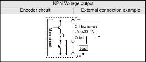 NPN Voltage output Encoder circuit External connection example Output