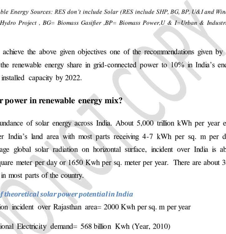 in Generation. *As on 31-11-2011 **Revised Target (62,347MW) RES=Renewable Energy Sources: RES don't include Solar (RES