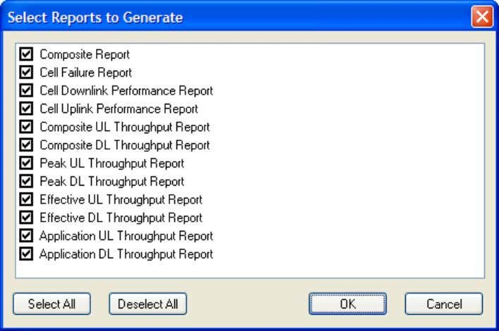 of LTE reports you can generate when using the Simulator: Example of the LTE report outputs