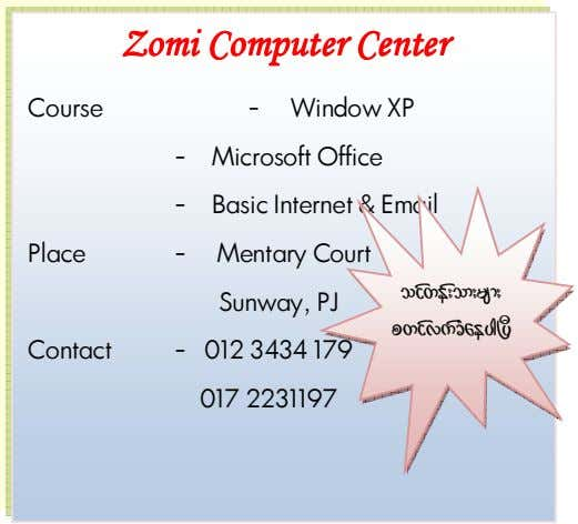 ZomiZomiZomiZomi ComputerComputerComputerComputer CenterCenterCenterCenter Course - Window XP - Microsoft Office -