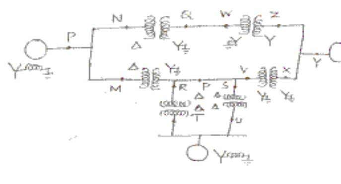 POWER SYSTEM ANALYSIS (16) 5. Two synchronous machines are connected through three-phase transformers to the transmission