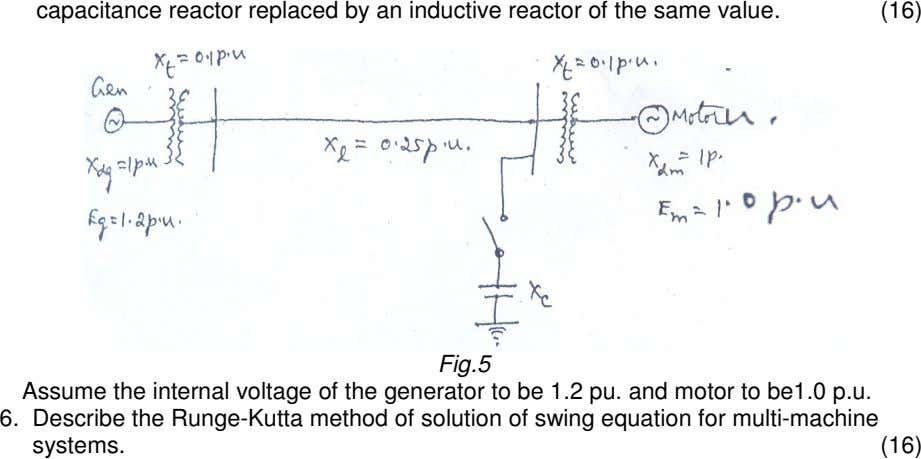 capacitance reactor replaced by an inductive reactor of the same value. (16) Fig.5 Assume the