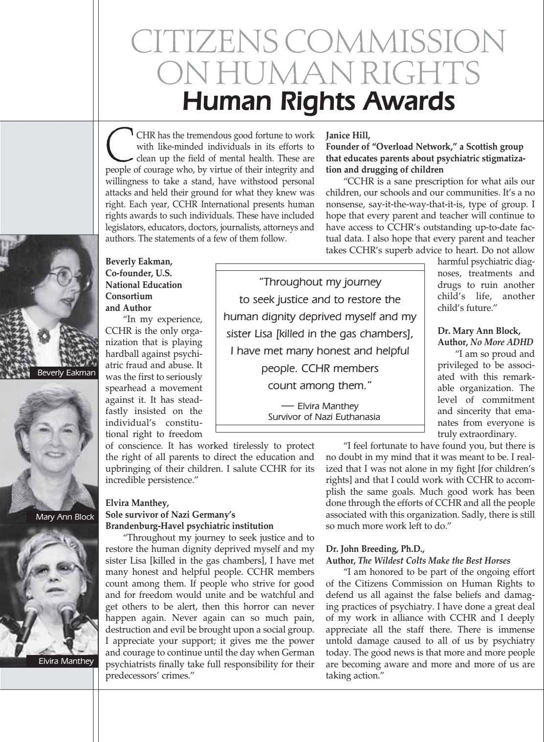 CITIZENS COMMISSION ON HUMAN RIGHTS Human Rights Awards C CHR has the tremendous good fortune to