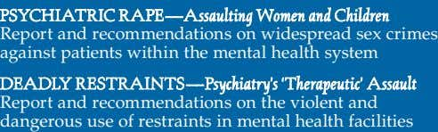 Report and recommendations on widespread sex crimes against patients within the mental health system Report and