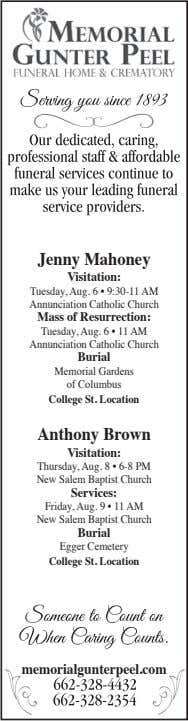 Jenny Mahoney Visitation: Tuesday, Aug. 6 • 9:30-11 AM Annunciation Catholic Church Mass of Resurrection:
