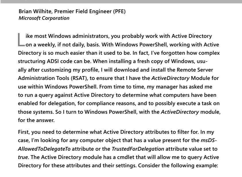 information without first loading the module. NOTES FROM THE FIELD Using the Active Directory module CHAPTER