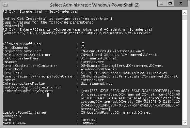 FIGURE 3-2 Using Windows PowerShell 4.0 remoting to obtain Active Directory information without first loading