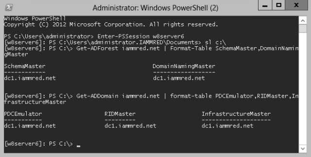 FIGURE 3-3 Using Windows PowerShell remoting to obtain FSMO information. Documenting active Directory Using the