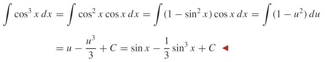 we write and solve the equation du = cos x dx for u = sin x