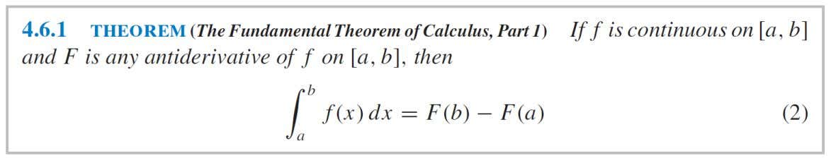 THE FUNDAMENTAL THEOREM OF CALCULUS we can express (2) as :