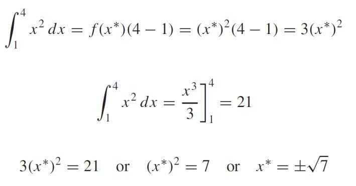 interval [1, 4], the Mean-Value Theorem for Integrals guarantees that there is a point x ∗