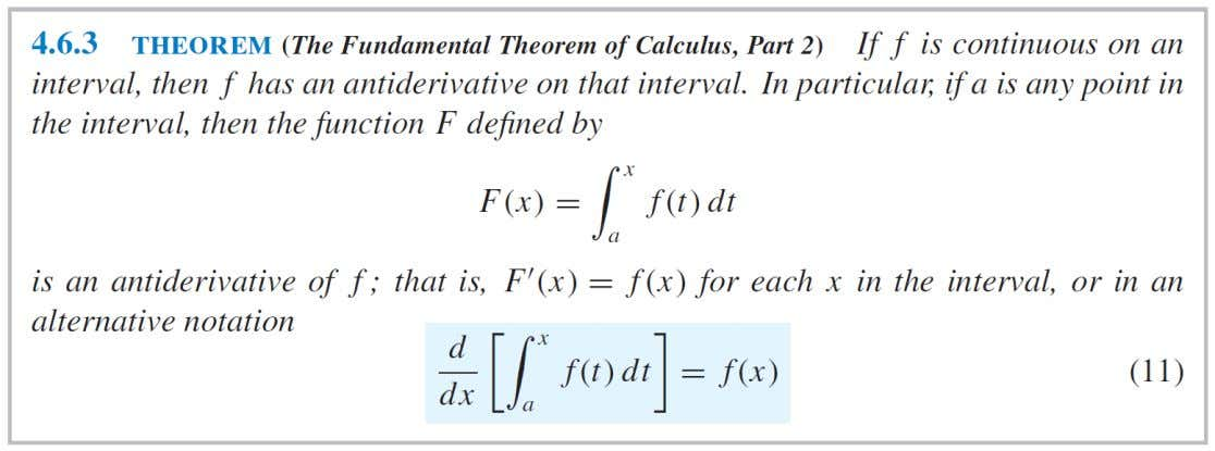 PART 2 OF THE FUNDAMENTAL THEOREM OF CALCULUS