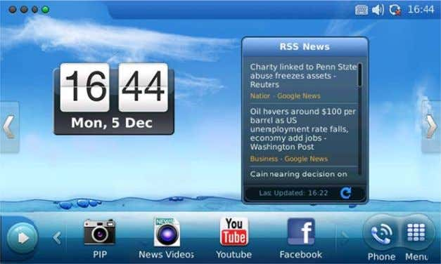 screen that shows Calen dar and RSS News. See f igure 15. Figure 15: L CD