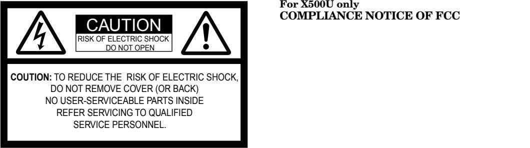For X500U only COMPLIANCE NOTICE OF FCC CAUTION RISK OF ELECTRIC SHOCK DO NOT OPEN