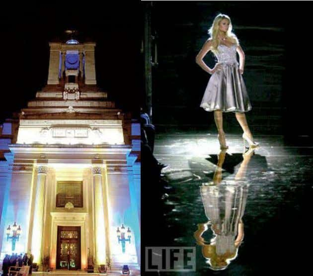 This image shows that popular culture puppet Paris Hilton was walking the catwalk to promote