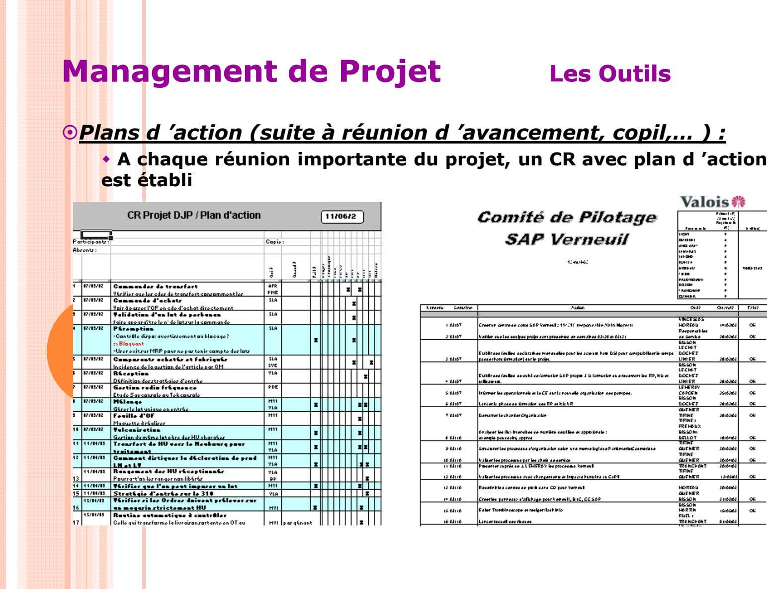 ManagementManagement dede ProjetProjet LesLes OutilsOutils Plans d 'action (suite à réunion d 'avancement,