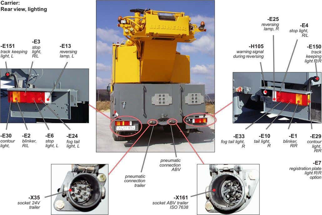 Carrier: Rear view, lighting -E25 reversing -E4 lamp, R stop light, R/L -E3 -E151 -E13