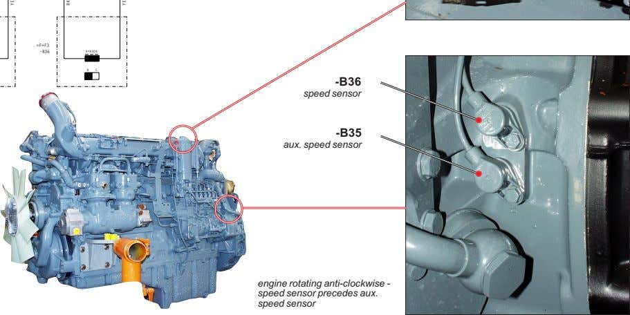 -B36 speed sensor -B35 aux. speed sensor engine rotating anti-clockwise - speed sensor precedes aux.