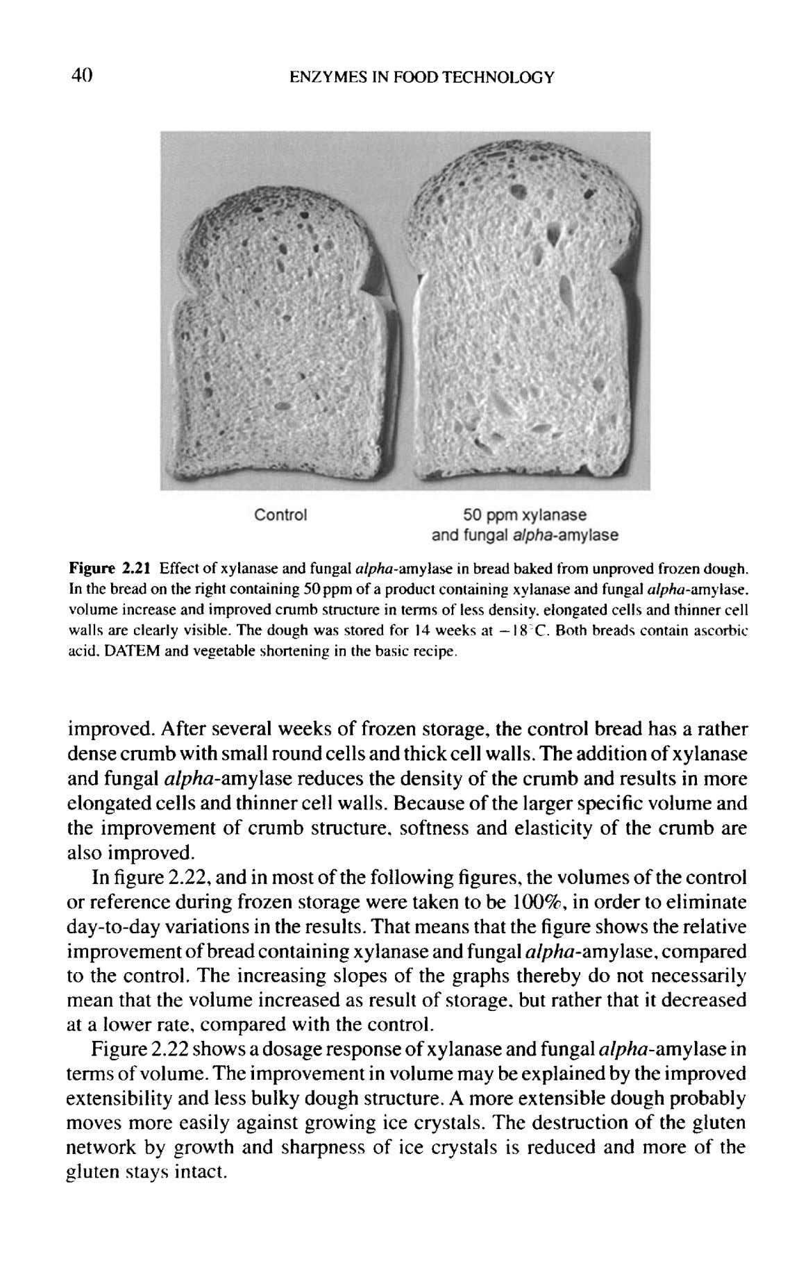 40 ENZYMES IN FOOD TECHNOLOGY Figure 2.21 Effect of xylanase and fungal alpha-amylase in bread
