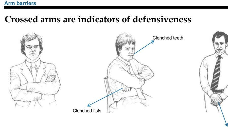 Arm barriers Crossed arms are indicators of defensiveness Clenched teeth Clenched fists