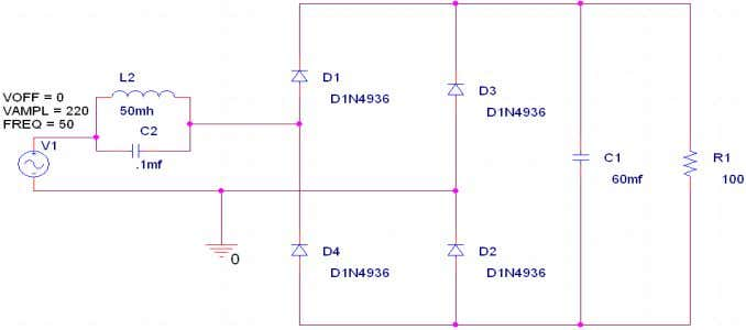 infinity (theoretically). Therefore, Where and is in Hz. And Figure 8: Single phase diode rectifier circuit