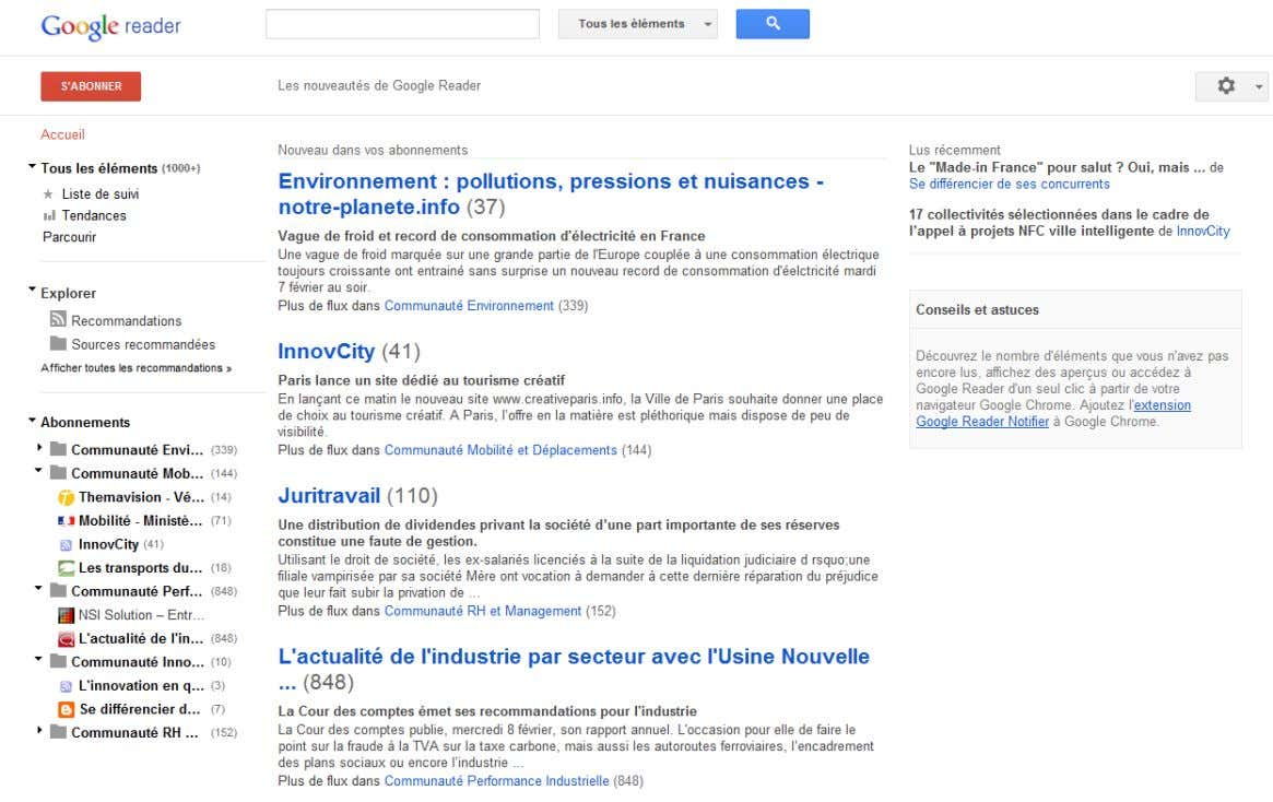 COMMENT FONCTIONNE GOOGLE READER ?
