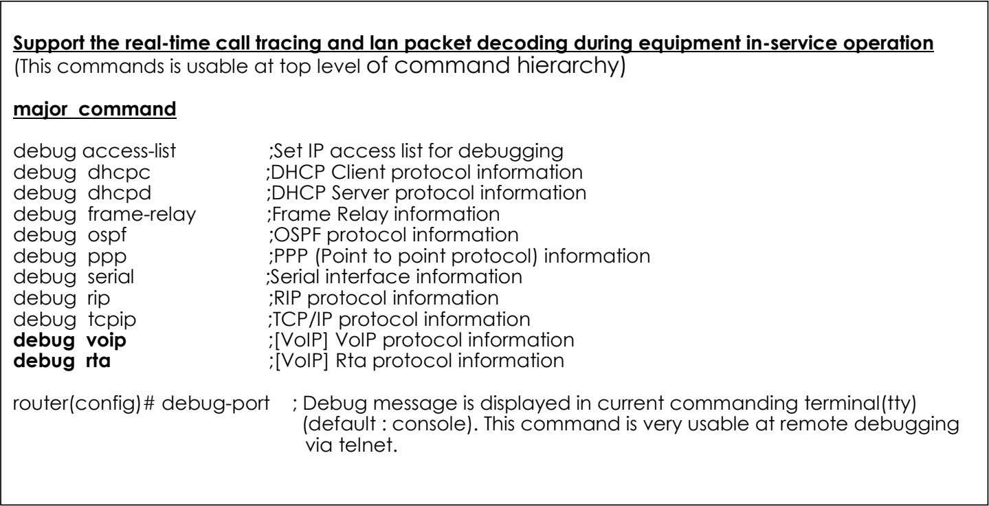 This command is very usable at remote debugging via telnet. 18 AddPac Technology www.addpac.com May. 2002,