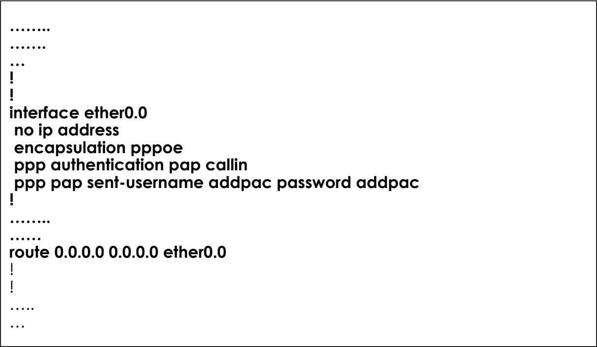 …… ……. … ! ! interface ether0.0 no ip address encapsulation pppoe ppp authentication pap