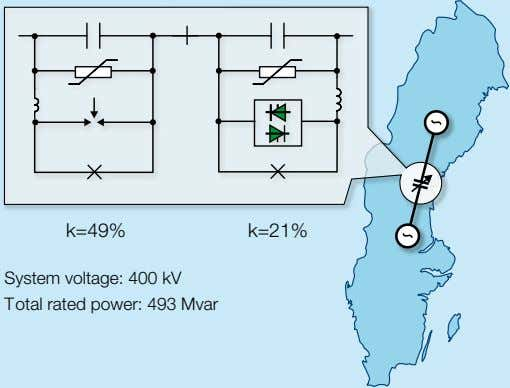 k=49% k=21% System voltage: 400 kV Total rated power: 493 Mvar