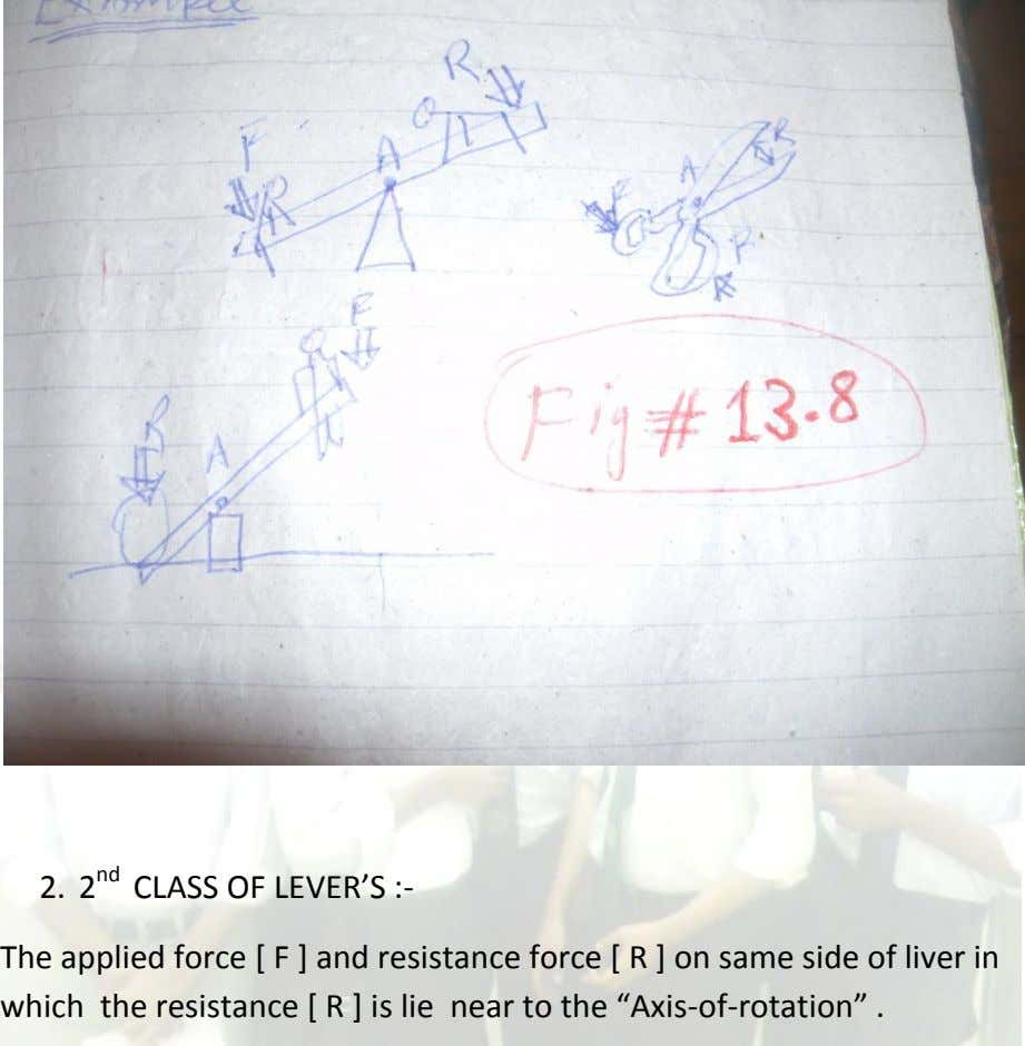2. 2 nd CLASS OF LEVER'S :- The applied force [ F ] and resistance