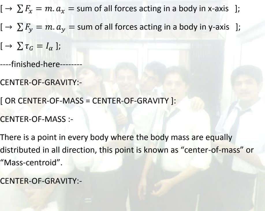 [ sum of all forces acting in a body in x-axis ]; [ sum of