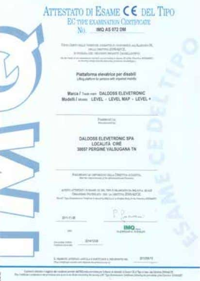 of Full Quality Assurance (electric and hydraulic lift) IQNET Company Certificate Level Type Examination Certificate 29
