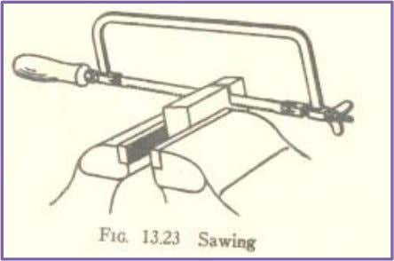 SAWING Sawing is operation for cutting material by using HACKSAW FRAME. Hacksaw consist of a frames