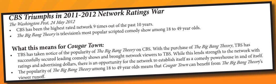 CBS Triumphs in 2011-2012 Network Ratings War The Washington Post, 24 May 2012 • CBS